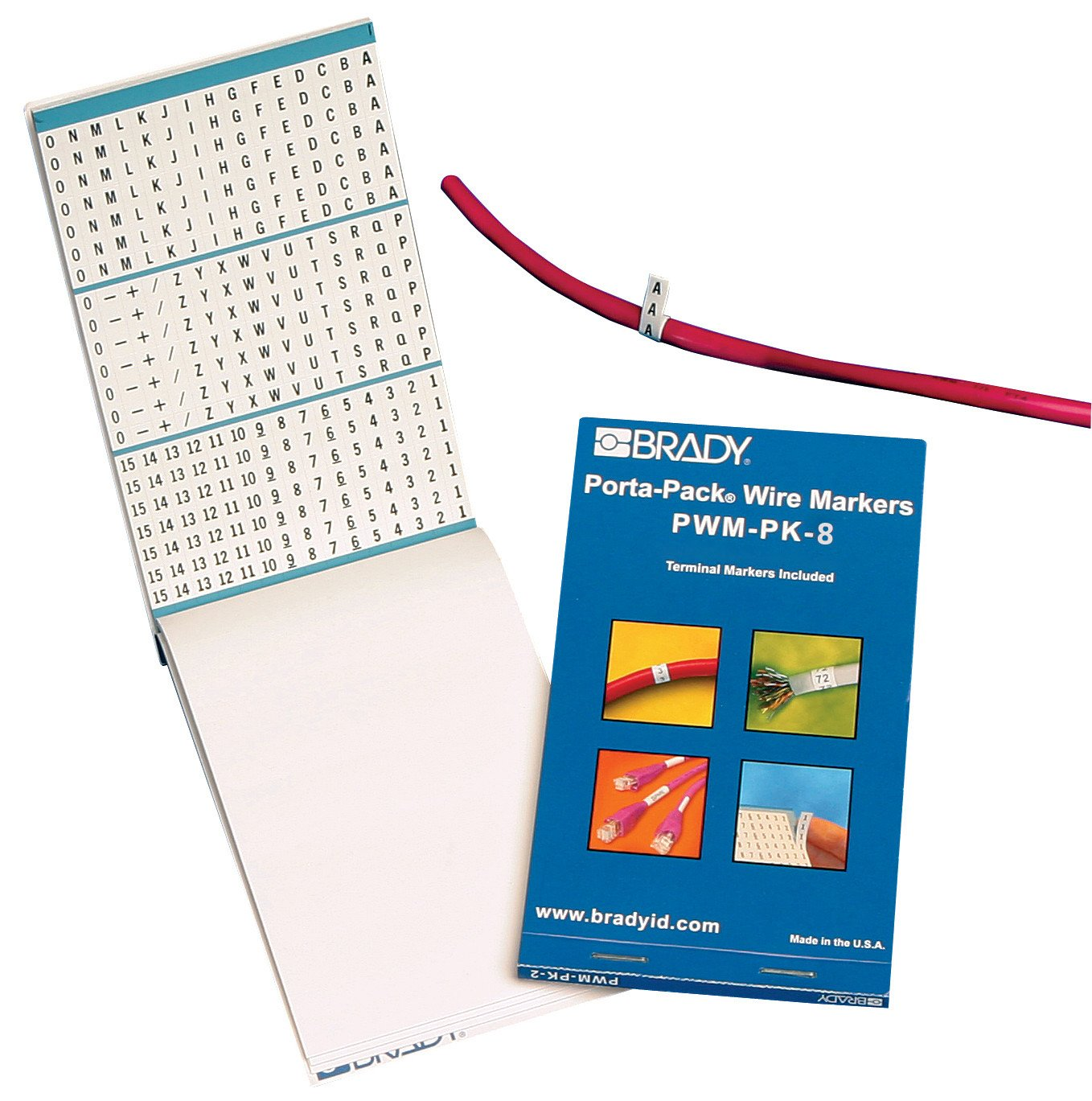Brady Porta-Pak Wire Markers (PWM-PK-8) - Black on White Vinyl Cloth, A through Z, 0 through 90, Symbols (1 Booklet) - 31208