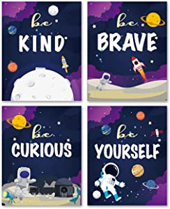 Outer Space Themed Wall Art Prints Set of 4 8x10 Unframed -Cute Space Be Kind Be Brave Be Curious Be Yourself Wall Decor for Kids Teens Boys Bedroom Nursery Playroom