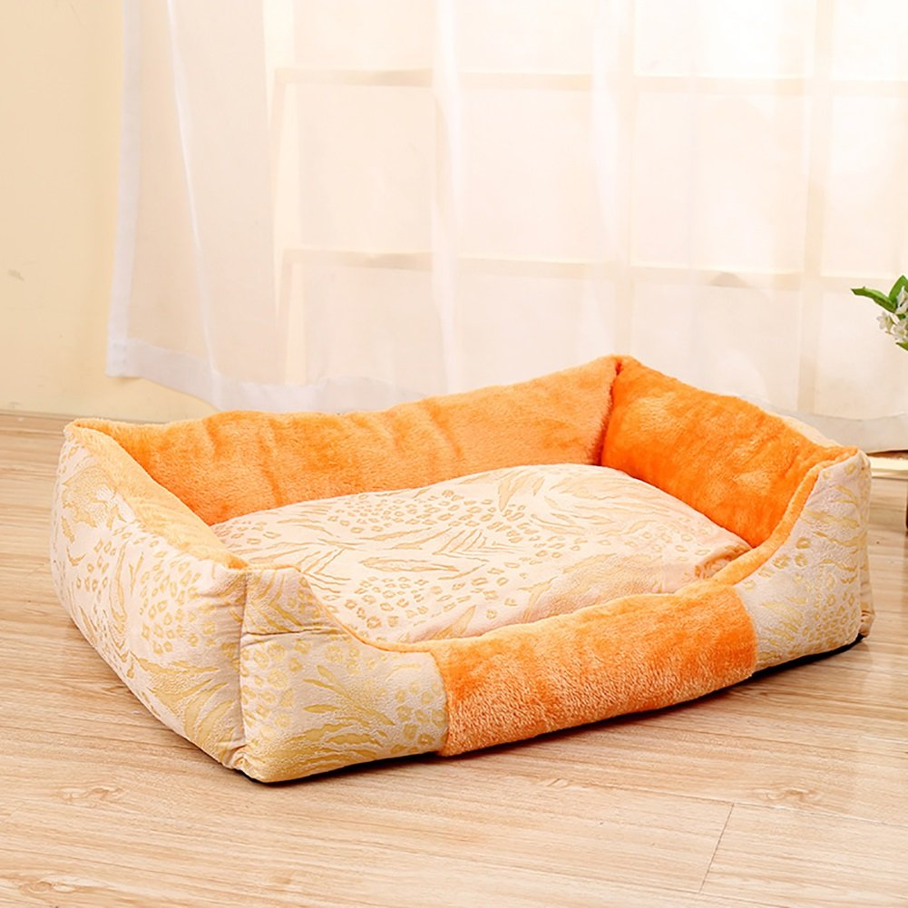 Yellow L Yellow L Pet Nest,Thickening Washable Pet Dog Cat Bed Sofa Nest Soft PP Cotton Dog Warm Kennel Bed House Pet Mats Cushion 3 color & 3 Size (color   Yellow, Size   L)