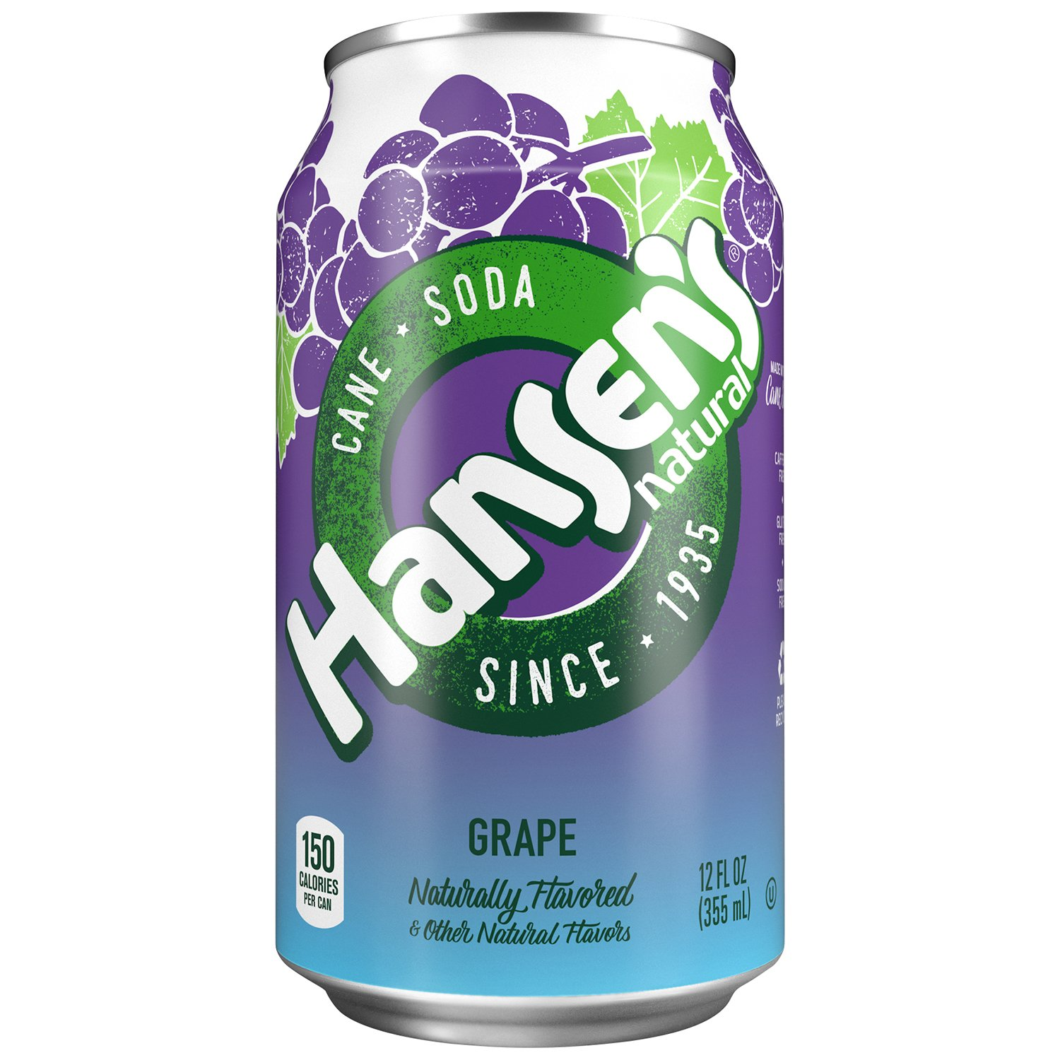 Hansen's Cane Soda (Grape, 12 fl oz, Pack of 24)