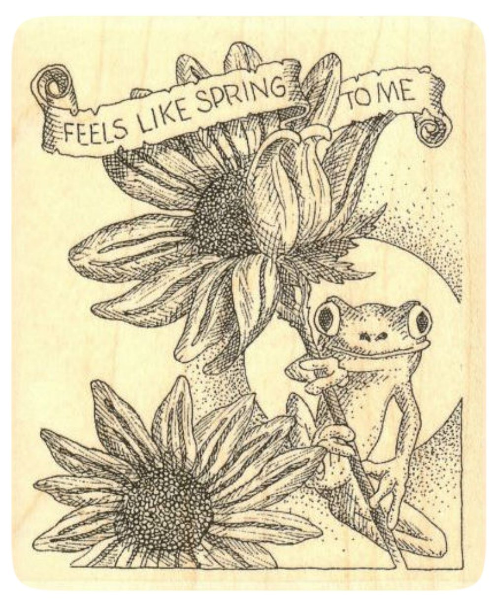 {Single Count} Unique & Custom (3 1/2'' by 4 1/4'' Inches) ''Feels Like Spring To Me Text, Sunflowers & Frog Scene'' Rectangle Shaped Genuine Wood Mounted Rubber Inking Stamp by mySimple Products