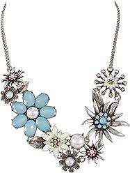 SIX Statementkette: Wundervolle Halskette in Silber, mit Edelweiß-Blumen und weißen Kunstperlen, für jeden Anlass, hellblau/rosa/gelb (388-103)