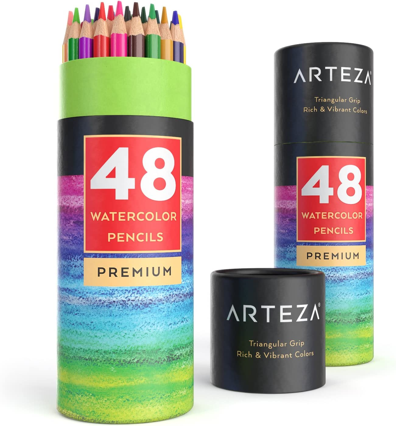 Arteza Watercolor Pencils Set of 48, Presharpened, Triangular-Shaped Colored Pencils for Adults and Kids