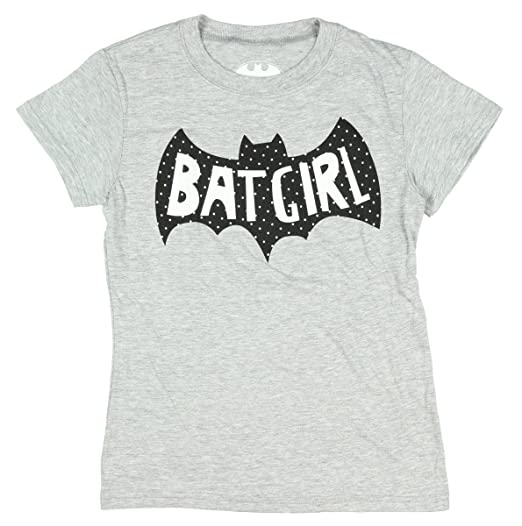 DC Comics Batgirl Girls Sugar Glitter Logo Heather T-shirt (L)