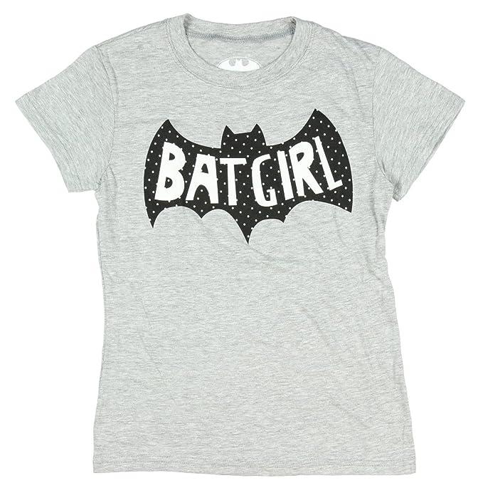 ddcc8d6f DC Comics Batgirl Girls Sugar Glitter Logo Heather T-Shirt (Large) Grey