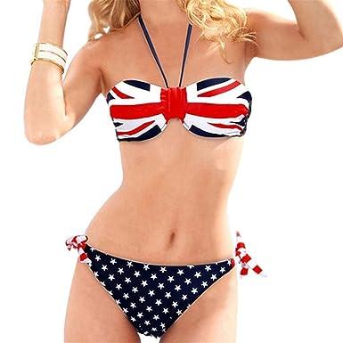 78ed90f9f6 Kebinai Women s Patriotic American Flag Stars and Stripes Push UP Bikini  Swimsuits Sexy UK FlagX-