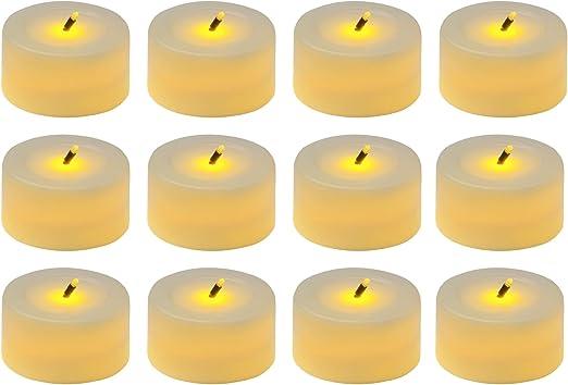White Bombay Lit Wick LED Plastic Tealights 12 Set