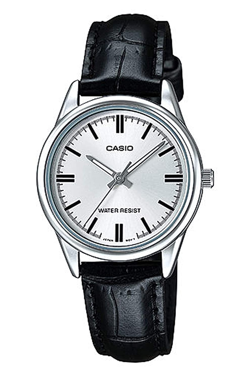 Casio Women s LTP-V005L-7A Silver Dial Genuine Leather Band Watch