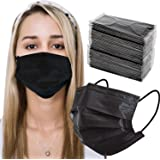 LUCIFER Disposable Face Mask Adults | 100-Pack, Individual Packs,3-Ply, Black | Breathable, Latex Free, Comfortable Protectio