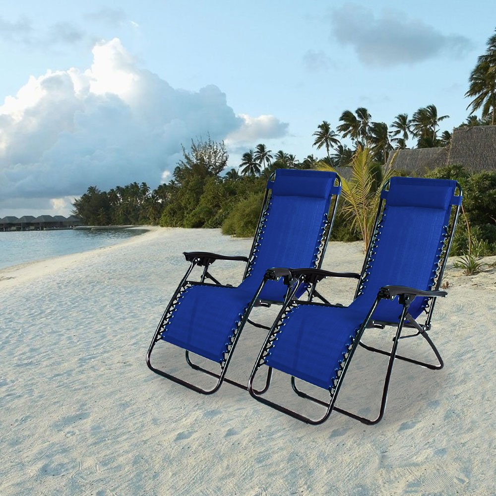 PARTYSAVING Infinity Zero Gravity Outdoor Lounge Patio Folding Reclining Chair Set of 2 APL1015 W/Cupholder (Blue) by PARTYSAVING (Image #7)