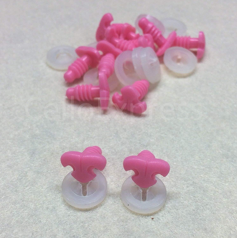 Celloexpress® Rosa Katzen-/Hundenase, Ersatzteil für Stofftiere, 11mm x 7mm, Halterung aus Kunststoff, Detaillierte Nasen-Nachbildung Flamingo Pink 11mm x 7mm