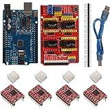 CNC Shield Contoller Kits for 3D Printer, CNC Shield Expansion Board V3.0 A4988 Stepper Motor Driver with Heatsink Kits…