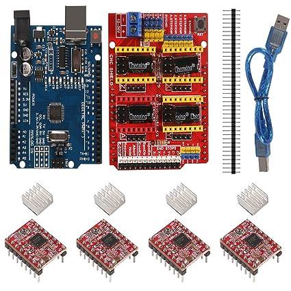 Aokin Kit de controlador de impresora 3D para Arduino RepRap, RAMPS 1.4, Mega 2560 Board, 5 unidades A4988 Stepper Motor Driver con disipador de calor, LCD 12864 Graphic Smart Display con adaptador: