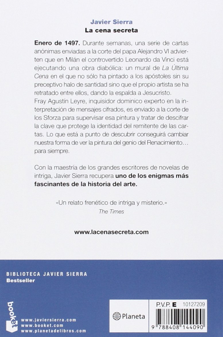 La Cena Secreta Biblioteca Javier Sierra Spanish Edition Sierra Javier 9788408144090 Books