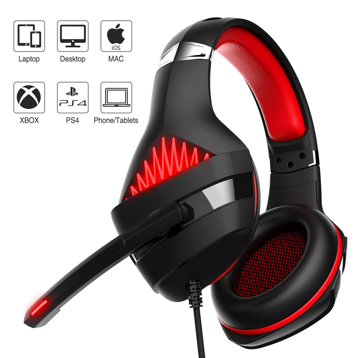 Gaming Headset, Beexcellent Gaming headphone with Microphone for PS4/Xbox One(Adapter Need)/Nintendo Switch(Audio)/PC/Controller/Cellphone-Easy Volume Control with LED Lighting 3.5MM Jack(GM-5 Red) by Beexcellent (Image #1)