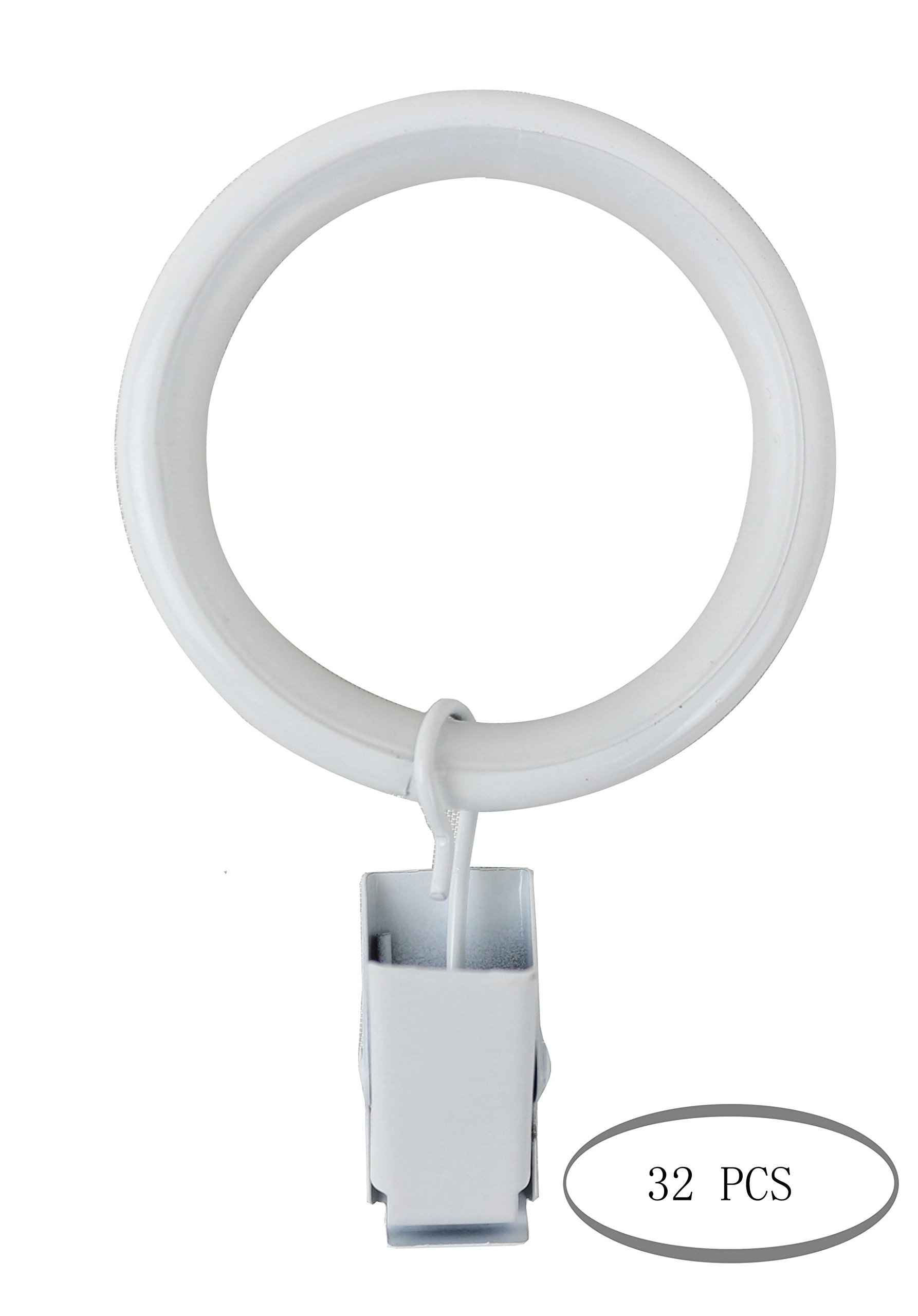 Urbanest Set of 32 Curtain Drapery Rings with Clips, 1.5-inch Inner Diameter, Nylon Insert Quiet Smooth, Glossy White