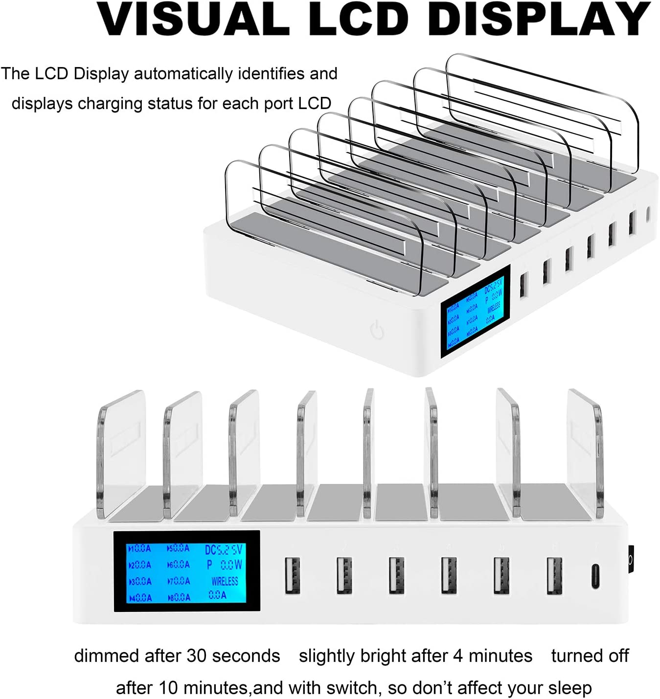 60W Desktop Docking Station Organizer with 7 Short Mixed Cables for Cell Phones Multiple Device Tablets White ideallife Charging Station Dock for 7 Ports USB Charger Smart Phones