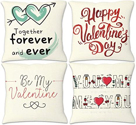 Amazon Com Keqing Valentine S Day Throw Pillow Cases 4pcs Set Square Linen Fabric Pillow Case For Sofa Chair Decorative White 42x42cm Home Kitchen