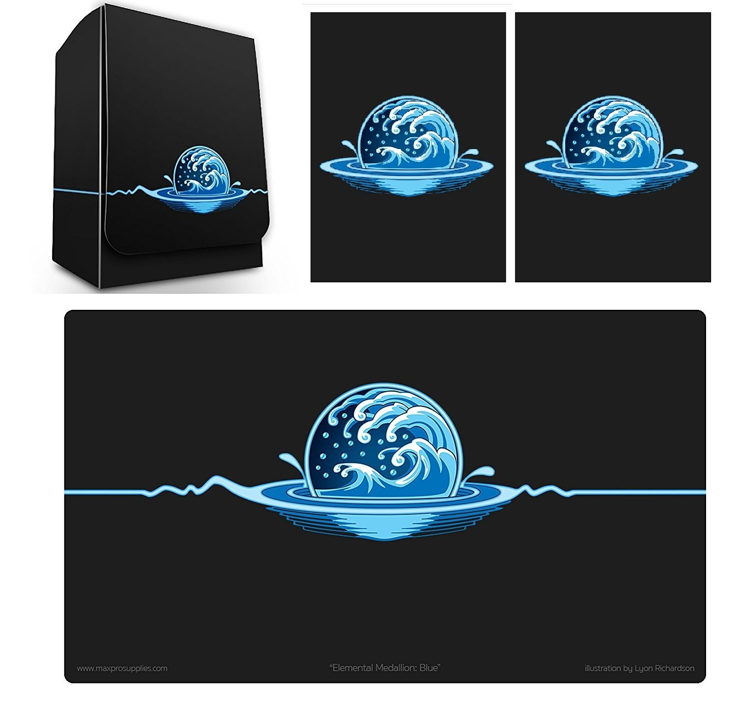 1 ICONIC ELEMENTAL Water Symbol BLUE Deck Box , PLAYMAT and 100 DOUBLE MATTE Sleeves (fits MTG Mana FORCE OF WILL Pokemon Cards) by Max-Pro