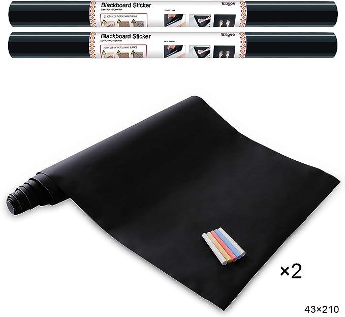 Ezigoo Vinilo Pizarra Negra- Pizarra Adhesiva de Papel Adherente - 43cm x 210cm pack de 2 incluye 10 tizas: Amazon.es: Oficina y papelería