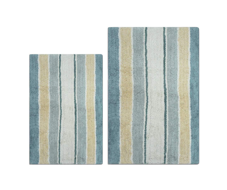 Clairvoyance Stripes Bath Rug Set 2 Pieces, Non Slip Cotton Bath Mats Set for Bathroom, Machine Washable (21''x 34'' + 24''x 40'') by Clairvoyance