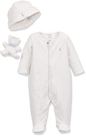 37328911ec42 Ralph Lauren Polo Baby Velour AC-GBX Gift Box Set Footies, Beige (Natural