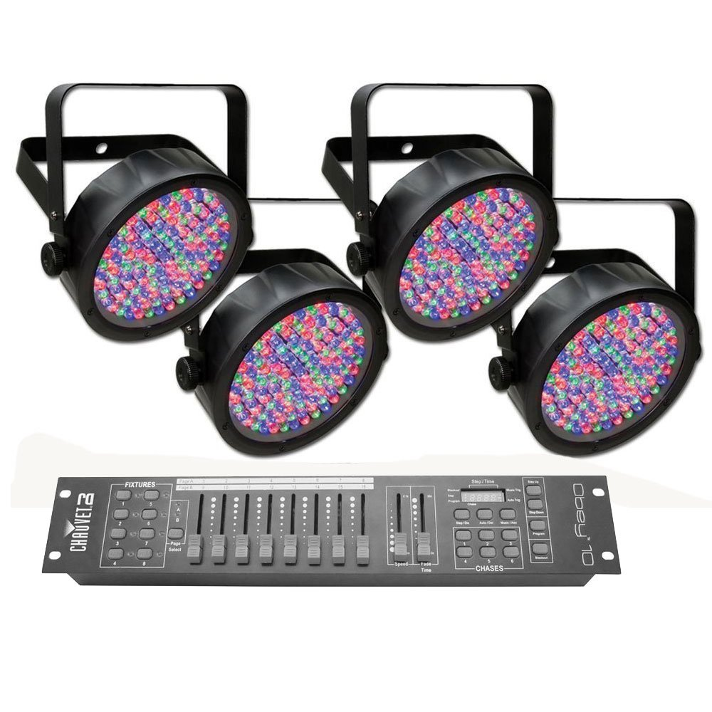 Chauvet DJ SlimPAR 56 LED PAR Can Lighting Effect 4-pack with Chauvet Obey 10 DMX Controller
