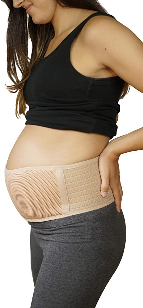 Baby Bump TLC Maternity Belt Abdominal Belly Band - Soft Breathable Belly Binder for Pregnancy One Size- Beige