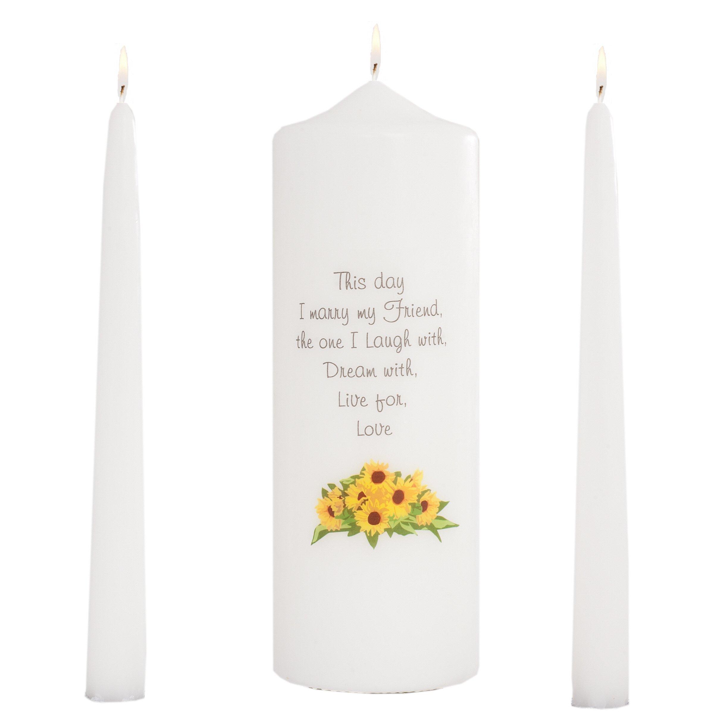 Celebration Candles Wedding Unity 9-Inch This Day I Marry My Friend Pillar Candle with Sunflower Motif and 10-Inch Taper Candle Set, White