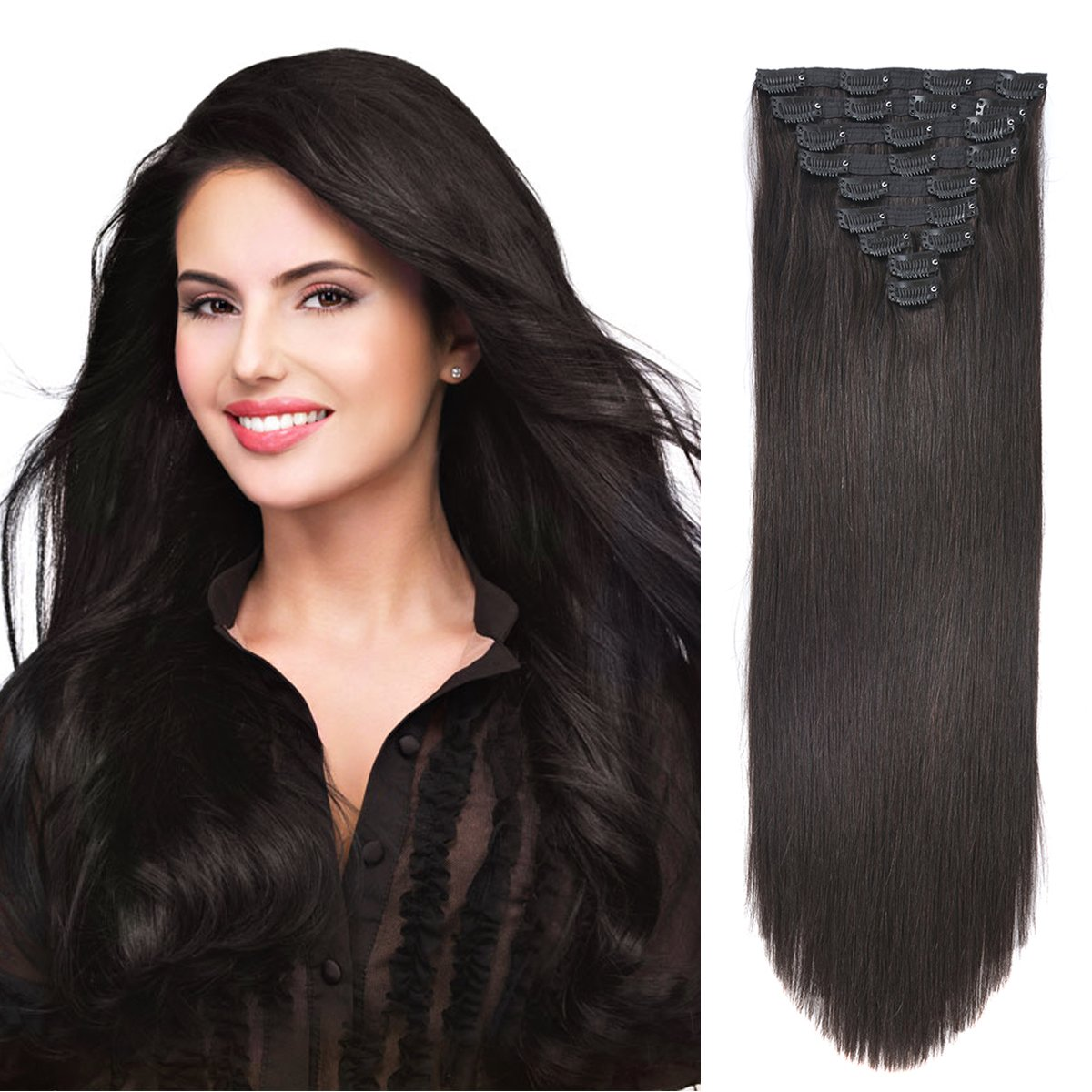 20'' Clip in Human Hair Extensions Natural Hair Clip in Extensions for Thick Hair Full Head Off Black #1B 10pieces 220grams/7.7oz