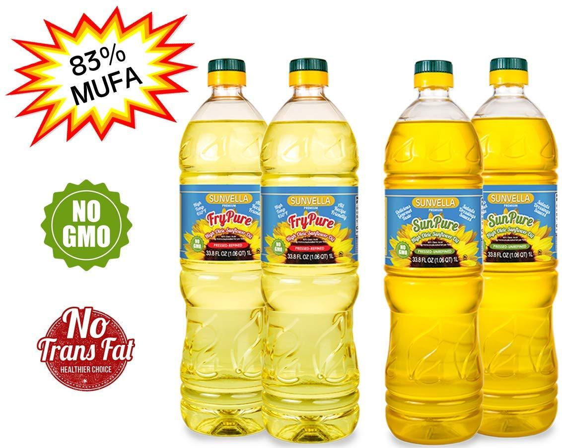 SUNVELLA Non-GMO High Oleic Sunflower Oil Variety Pack/Pressed-Refined + Pressed-Unrefined (2 x 33.8 FL OZ FryPure + 2 x 33.8 FL OZ SunPure) by SUNVELLA
