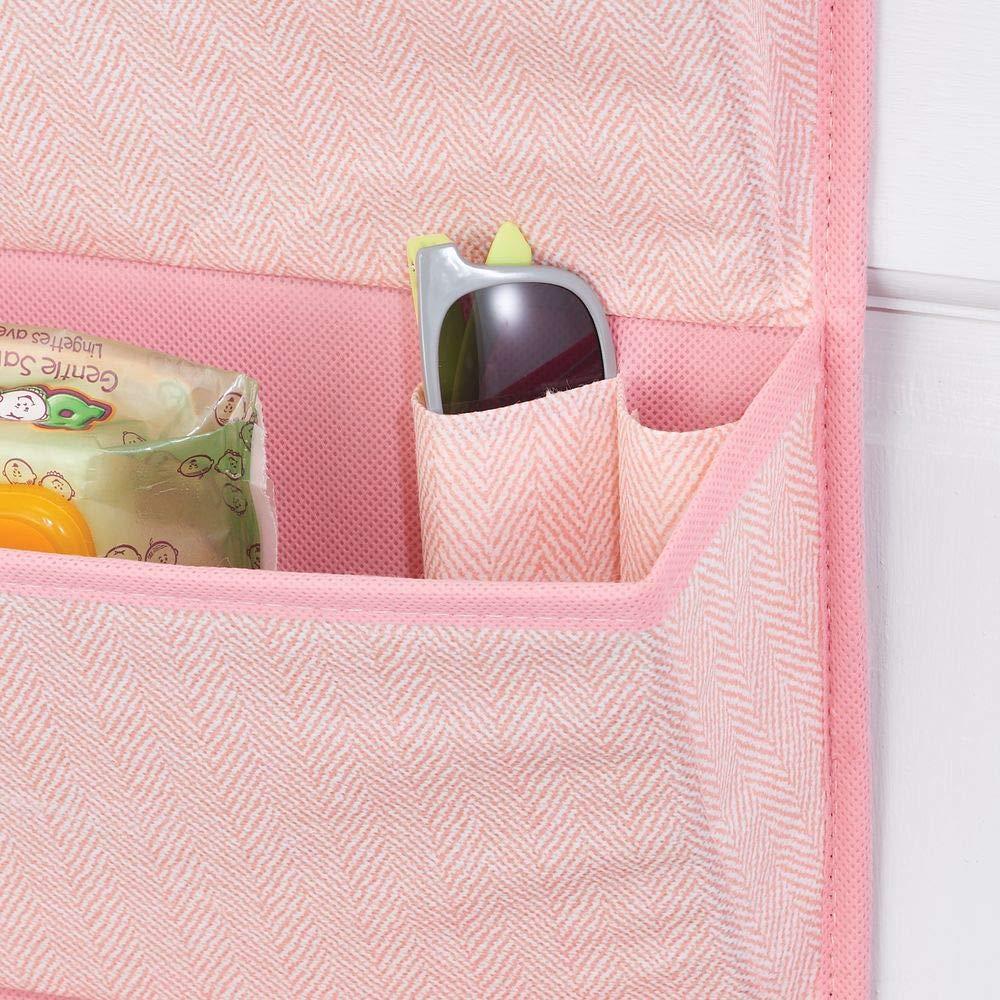 mDesign Organizador colgante con 4 bolsillos grandes Sistema de almacenamiento para habitaci/ón infantil rosa accesorios y ropa Estantes colgantes para zapatos