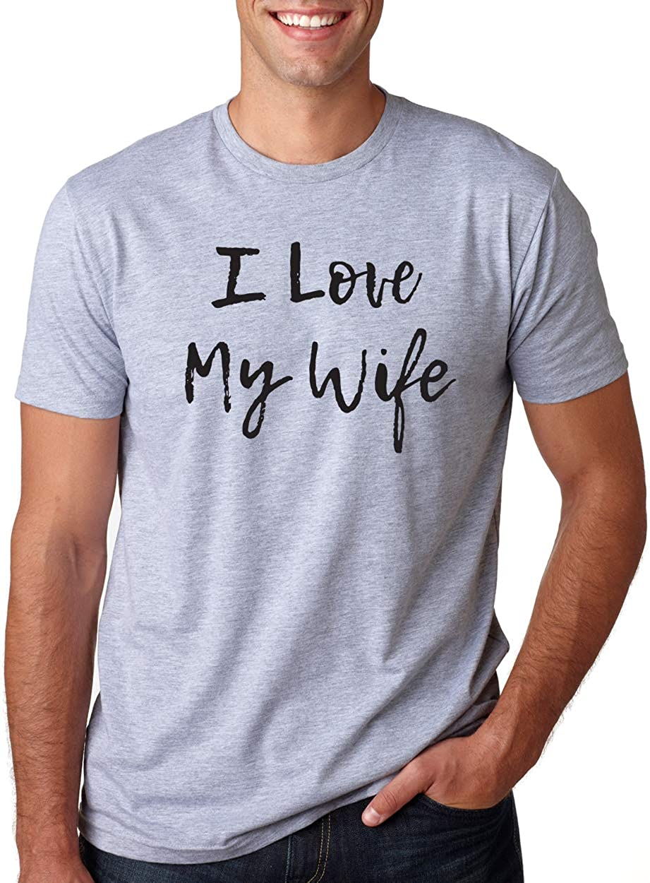 New T-Shirt I Love My Wife Funny Top Gift Husband Couple Valentines Day Tee