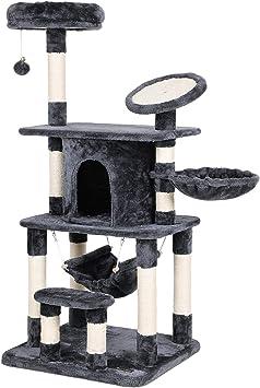 FEANDREA Árbol para Gatos Rascador con Caseta Lujosa Plataforma Redonda con Borde Curvado Postes Recubiertos por Cuerda de Sisal para Afilamiento Color Antracita PCT25G: Amazon.es: Productos para mascotas