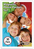 """Magtech 15710 Magnetic Pocket Picture Frame Holds 5 x 7"""" Photos (10 Pack), White"""