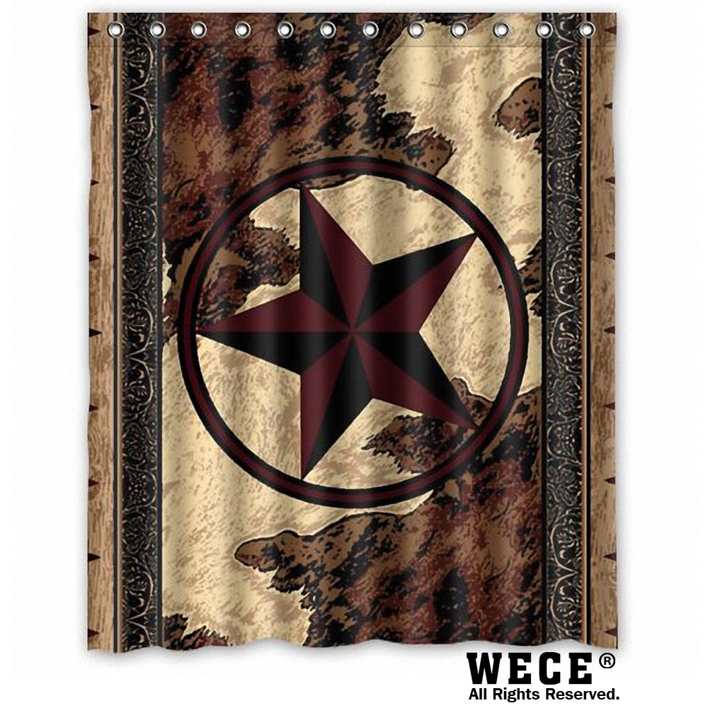 "(60"" x 72"" ) Waterproof Bathroom Western Texas Star Shower Curtain"