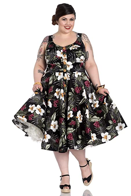 Retro Tiki Dress – Tropical, Hawaiian Dresses Hell Bunny Tahiti Tropical Floral 50s Vintage Rockabilly Flare Swing Party Dress $64.99 AT vintagedancer.com