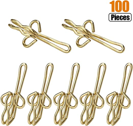 12 Pack Happy Shopping Time Goden Colored Metal Curtain Hooks