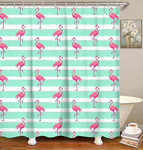 Tropical Green Leaves and Flamingo Shower Curtain /& Hooks Bath Accessory Sets