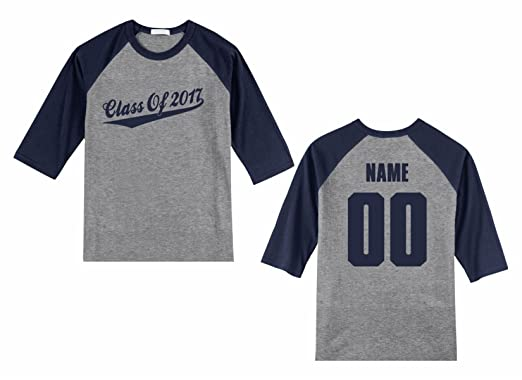 9d23f0231 Men's Custom Personalized Raglan 3/4 sleeve shirt, Class Of, Script ...