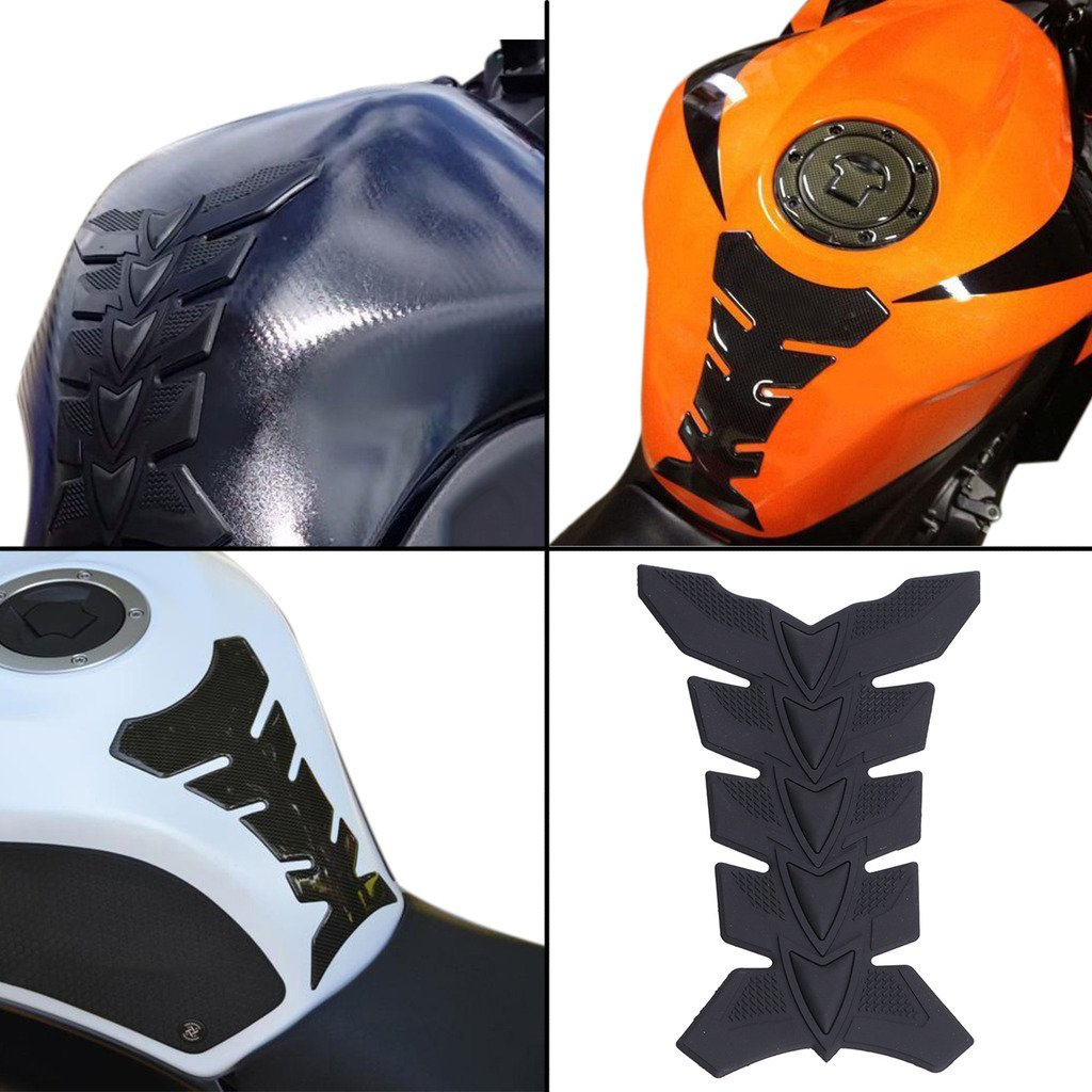 E-Most Black Motorcycle 3D Rubber Modified Sportbike Fuel Tank Pad Protector Decal For Harley Honda Suzuki Yamaha