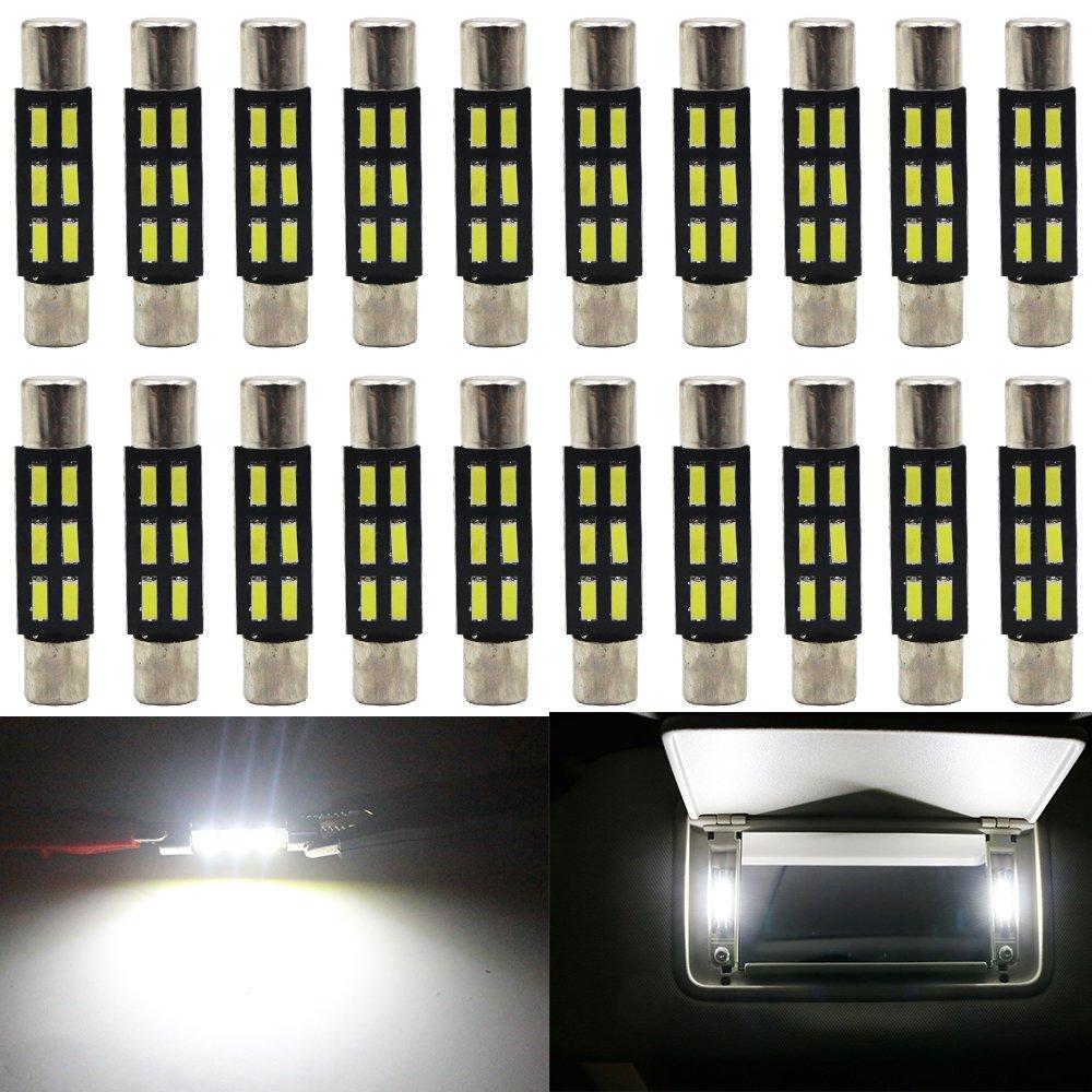 AMAZENAR 6-Pack 44mm1, 73 Bianco Estremamente Luminoso 561 562 567 564 RL4410 Festoon LED Non Polarizzato Lampadina 4014 20SMD 12V Luce Interna Rigida con Mappa a Cupola Motore Engine Compartmen Bulb Amazenar(TM)