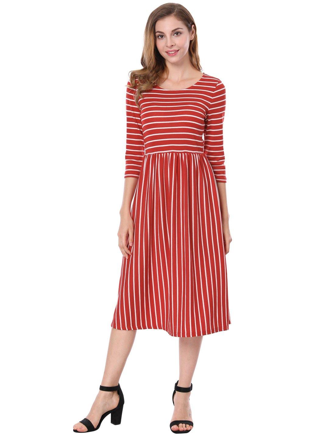 Allegra K Women's Contrast Striped 3/4 Sleeves Paneled Midi Flared Dress s18040800it0496
