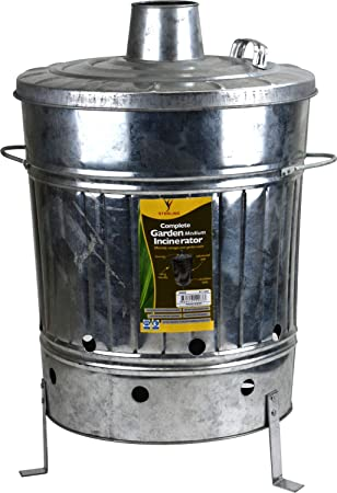 Incinerador galvanizado para desagüe de jardín de madera (60 L): Amazon.es: Bricolaje y herramientas