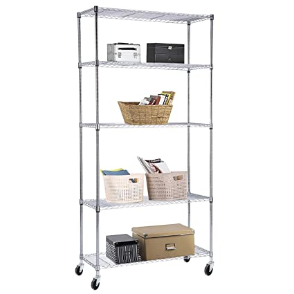 suncoo wire shelving unit storage rack metal kitchen shelf stainless steel adjustable 5 tier shelves chrome - Metal Kitchen Shelves
