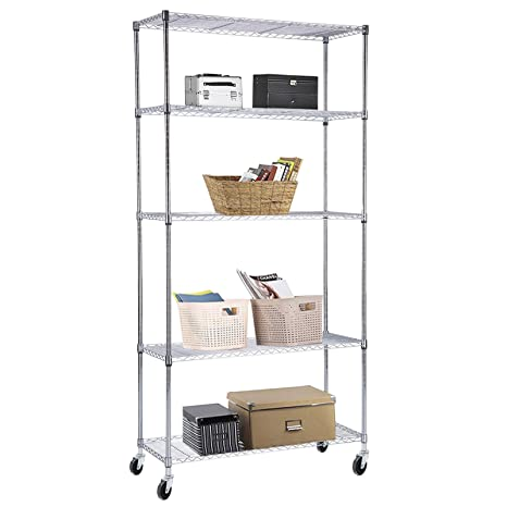 SUNCOO Wire Shelving Unit Storage Rack Metal Kitchen Shelf Stainless Steel  Adjustable 5 Tier Shelves Chrome 30\
