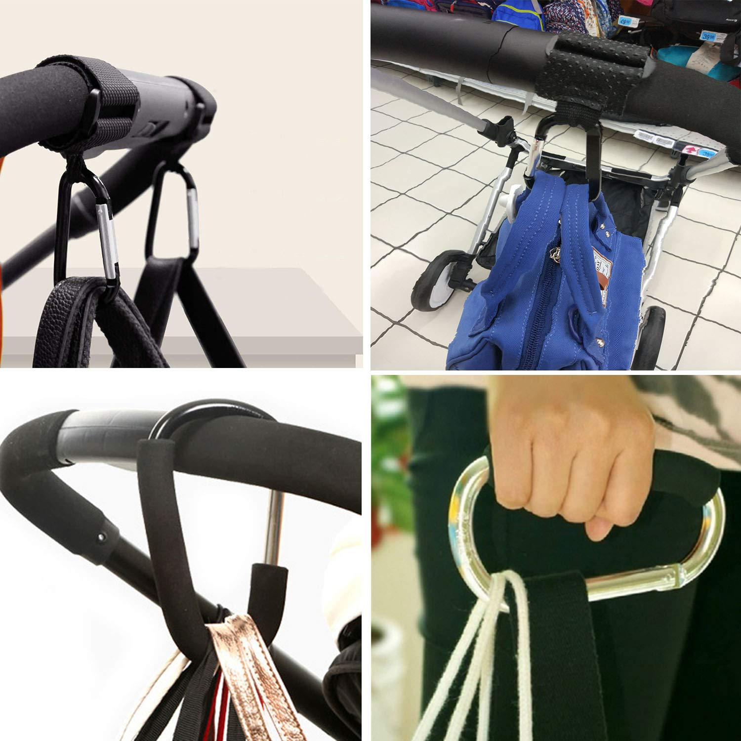 4 Pack Strap Hooks and X-Large Stroller Organizer Hook Clip for Purse Shopping /& Diaper Bags Stroller Hooks