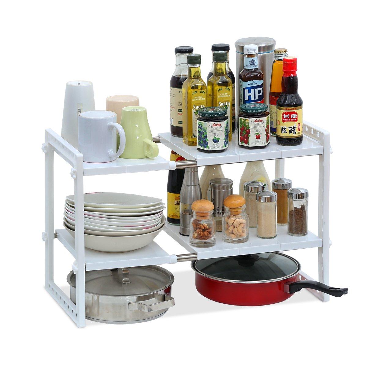Creatwo 2 Tier Under Sink Shelf Extendable Adjustable Kitchen Cabinet Organizer, White