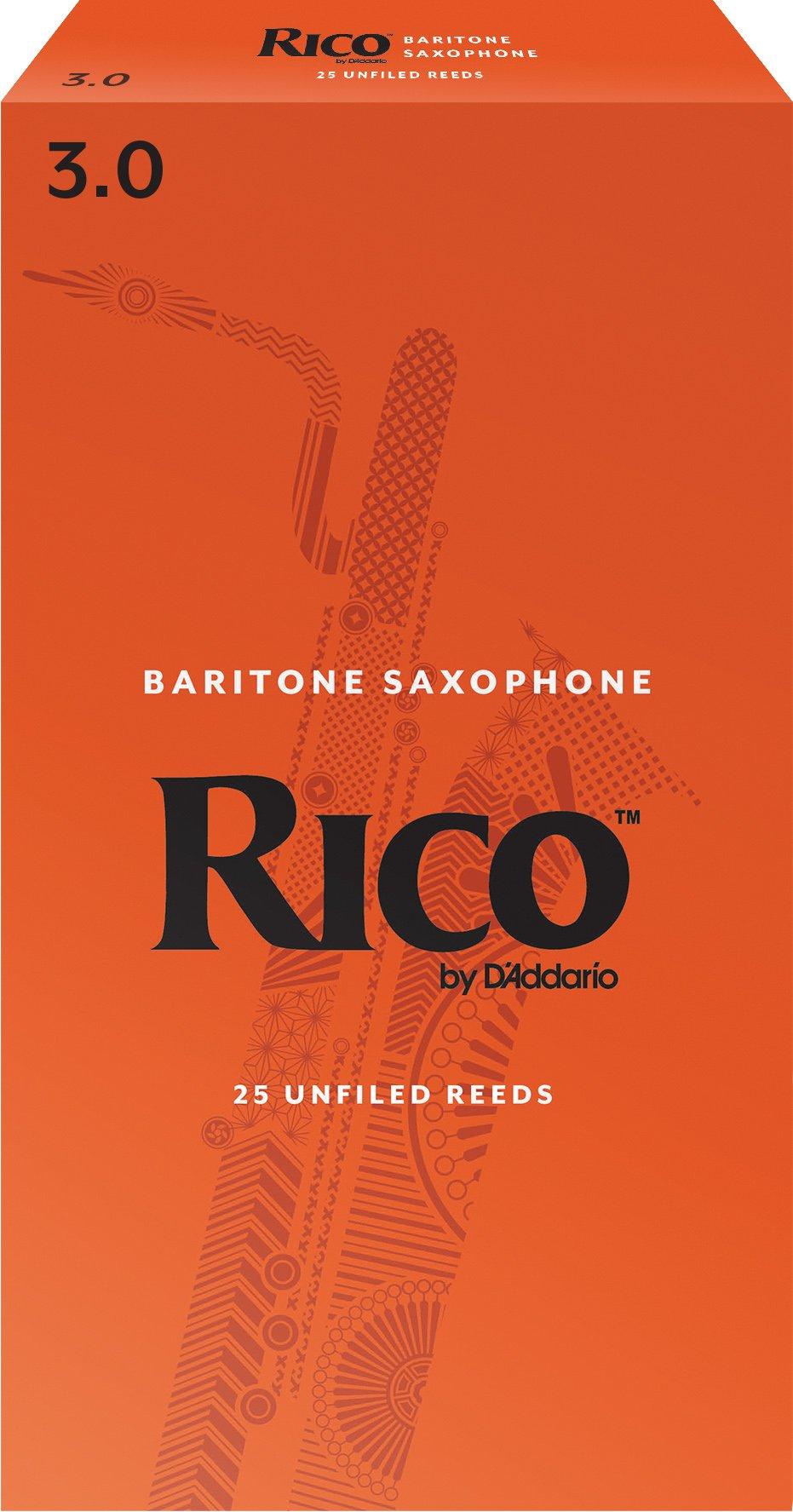 Rico by D'Addario Baritone Sax Reeds, Strength 3.0, 25-pack