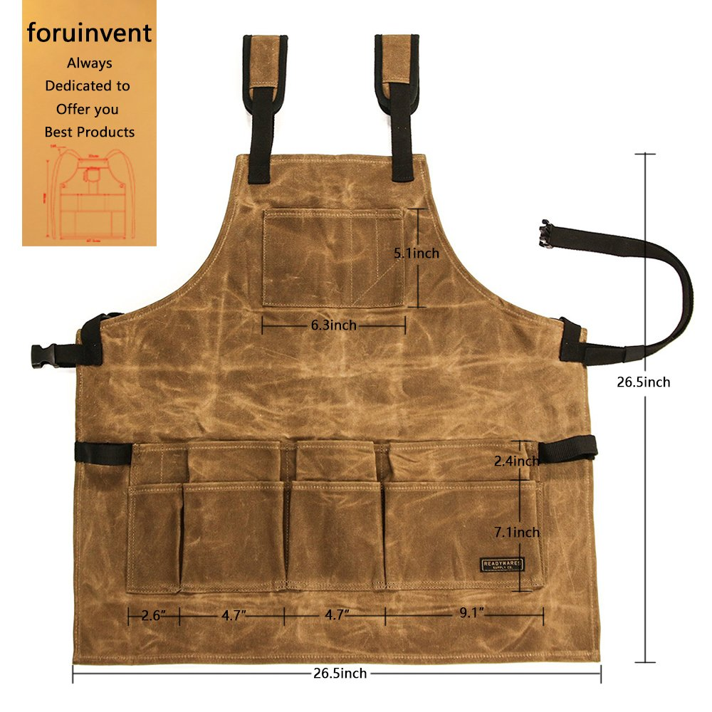 foruinvent Waxed Canvas Tool Apron With Tool Pockets, Back Straps & Adjustable up to XXL for Men & Women Duuluup
